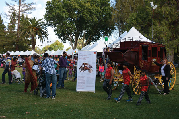 (Above): Wells Fargo had a carraige at their booth that was a favorite with kids at the Pleasanton Mela. [Photo: Amar D. Gupta | Siliconeer]
