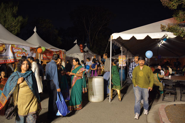 (Above): People flocking food booths at Sunnyvale Hindu Temple Diwali Mela, Oct. 18. [Photo: Amar D. Gupta | Siliconeer]