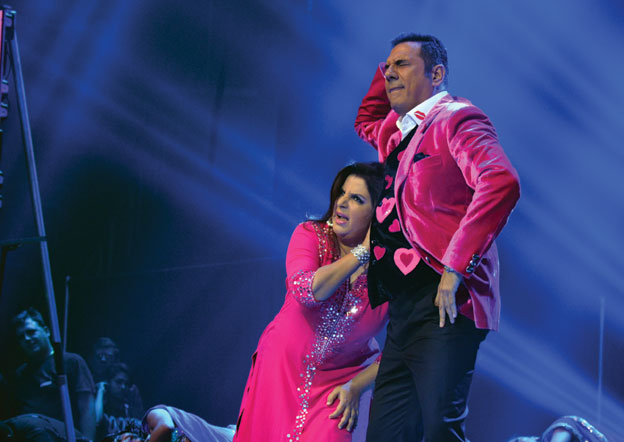 (Above): Farah Khan and Boman Irani (r) performing at the SLAM show in San Jose, Calif., Sep. 28. [Photo: Amar D. Gupta | Siliconeer]