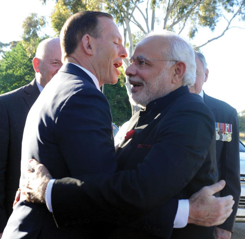 Prime Minister Narendra Modi with Australian Prime Minister Tony Abbott (l), in Canberra, Nov. 18. (Press Information Bureau)