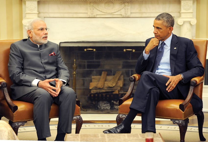 Indian Prime Minister Narendra Modi with U.S. President Barack Obama at the White House in Washington, D.C., Sep. 30. (Press Information Bureau)