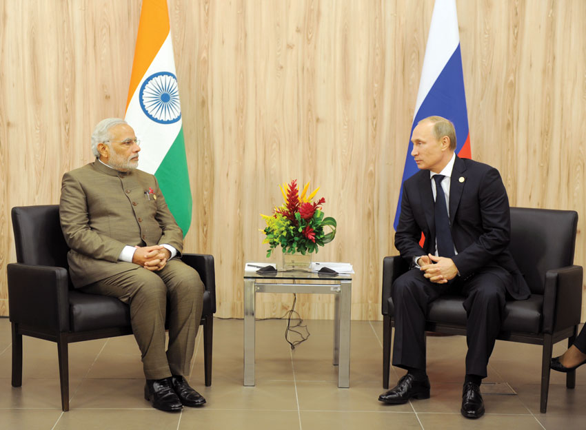 Indian Prime Minister Narendra Modi with Russian President Vladimir Putin, at the 6th. BRICS Summit, in Fortaleza, Brazil, July 15. (Press Information Bureau)