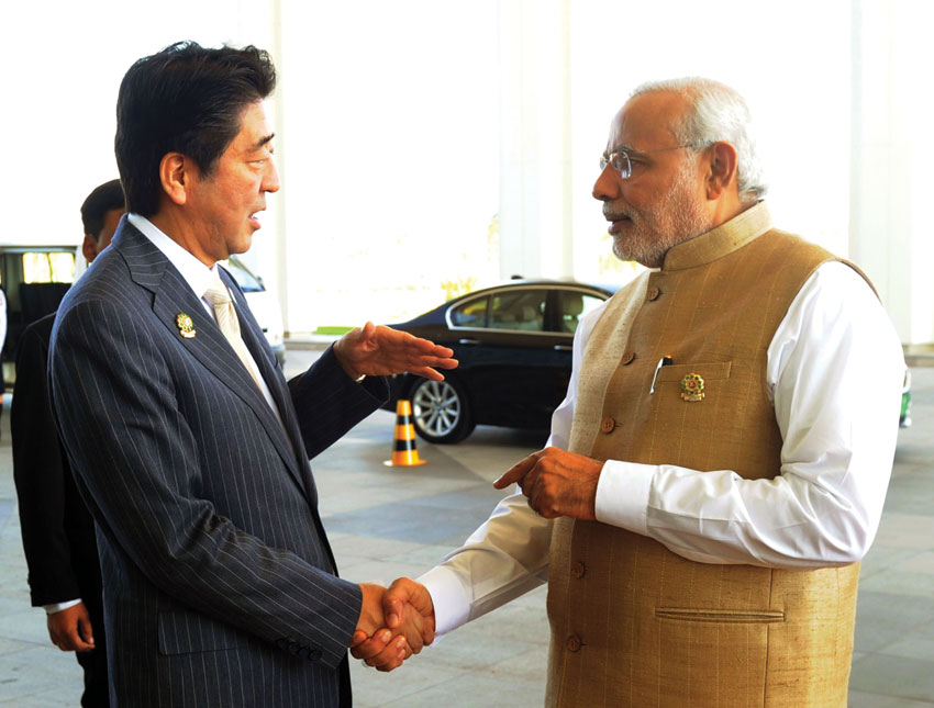 Indian Prime Minister Narendra Modi with his Japanese counterpart, Shinzo Abe, in Nay Pyi Taw, Myanmar, Nov. 13. (Press Information Bureau)