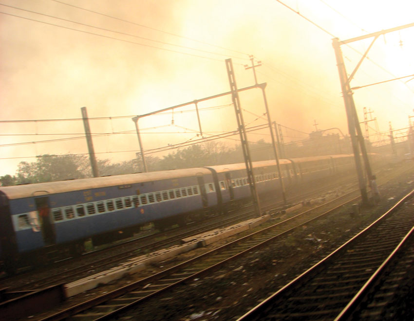 Smog, haze and fog cover Delhi during the winters. A view from railway tracks in New Delhi.