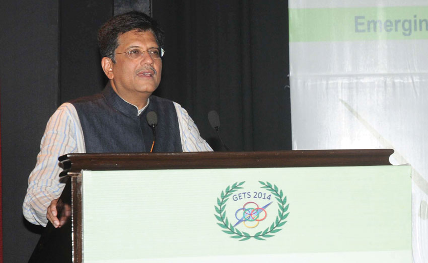 Minister of State (Independent Charge) for Power, Coal and New and Renewable Energy Piyush Goyal delivering the inaugural address at the Global Energy Technology Summit (GETS) organized by NTPC Limited in New Delhi, Nov. 7. (Press Information Bureau)