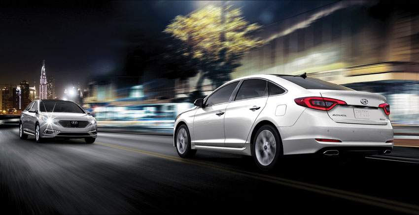 Exterior view of the 2015 Hyundai Sonata.
