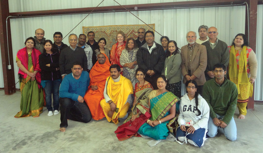 Swami Narayananda  and devotees at the Retreat Center building inauguration in Hollister, Calif.