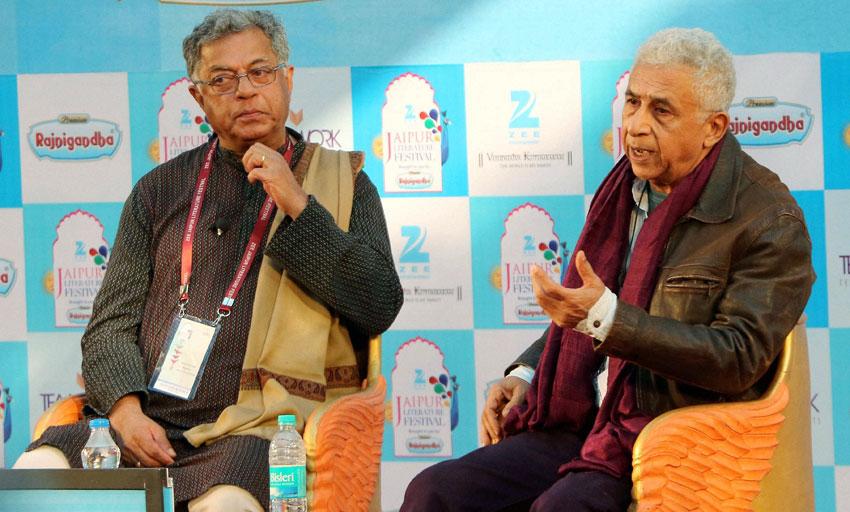 Girish Karnad and Naseeruddin Shah at a session at Jaipur Literature Festival at Diggi Palace in Jaipur, Jan. 21. (Press Trust of India)