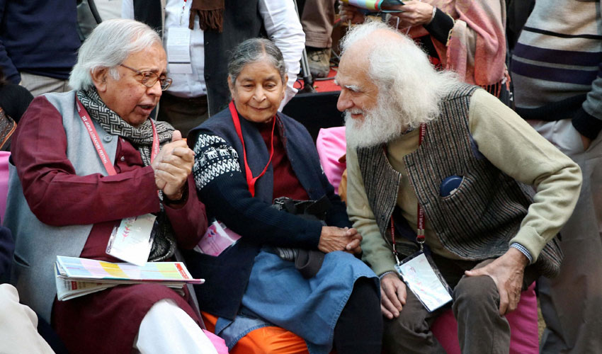 Author Ashok Vajpayee and Arvind Krishna Mehrotra at the inauguration of the Jaipur Literature Festival at Diggi Palace in Jaipur, Jan. 21. (Press Trust of India)