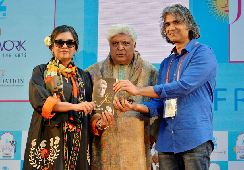"""Shabana Azmi and Javed Akhtar (r) during the book launch of """"In Other Words"""" at the inauguration of the Jaipur Literature Festival at Diggi Palace in Jaipur, Jan. 21. (Press Trust of India)"""