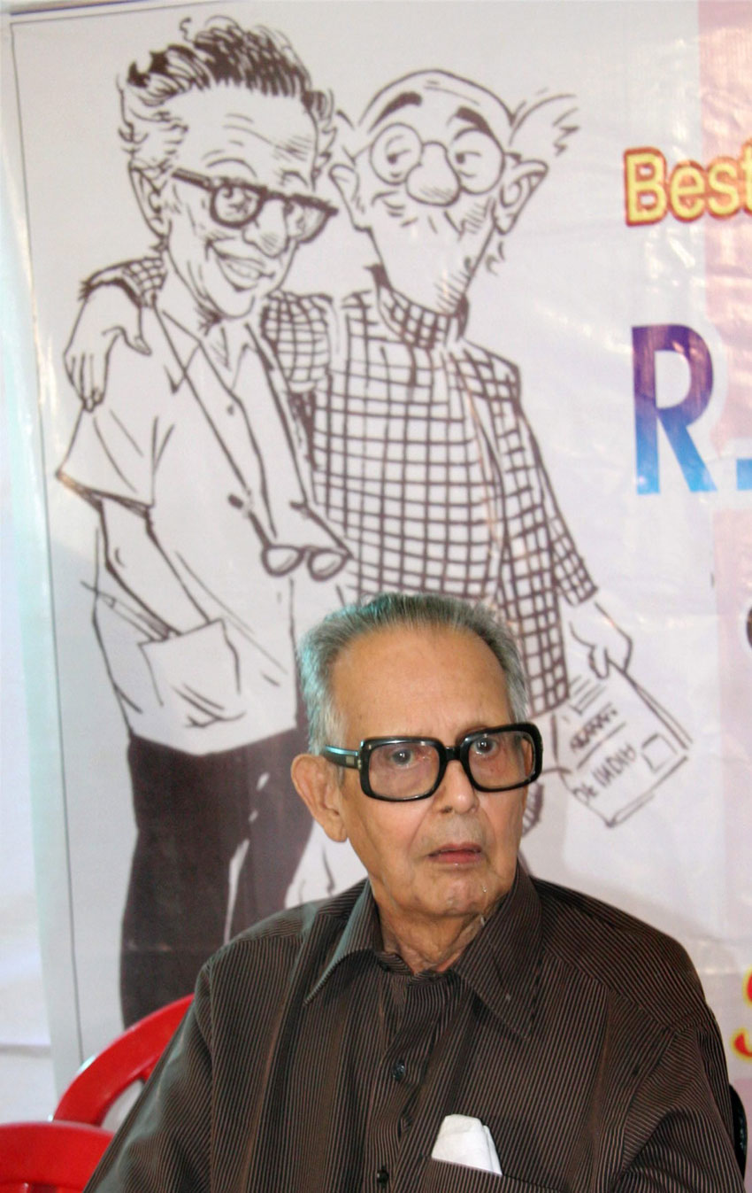 File photo of eminent cartoonist R.K. Laxman who passed away in Pune, Jan. 26. He was 94. (Press Trust of India)