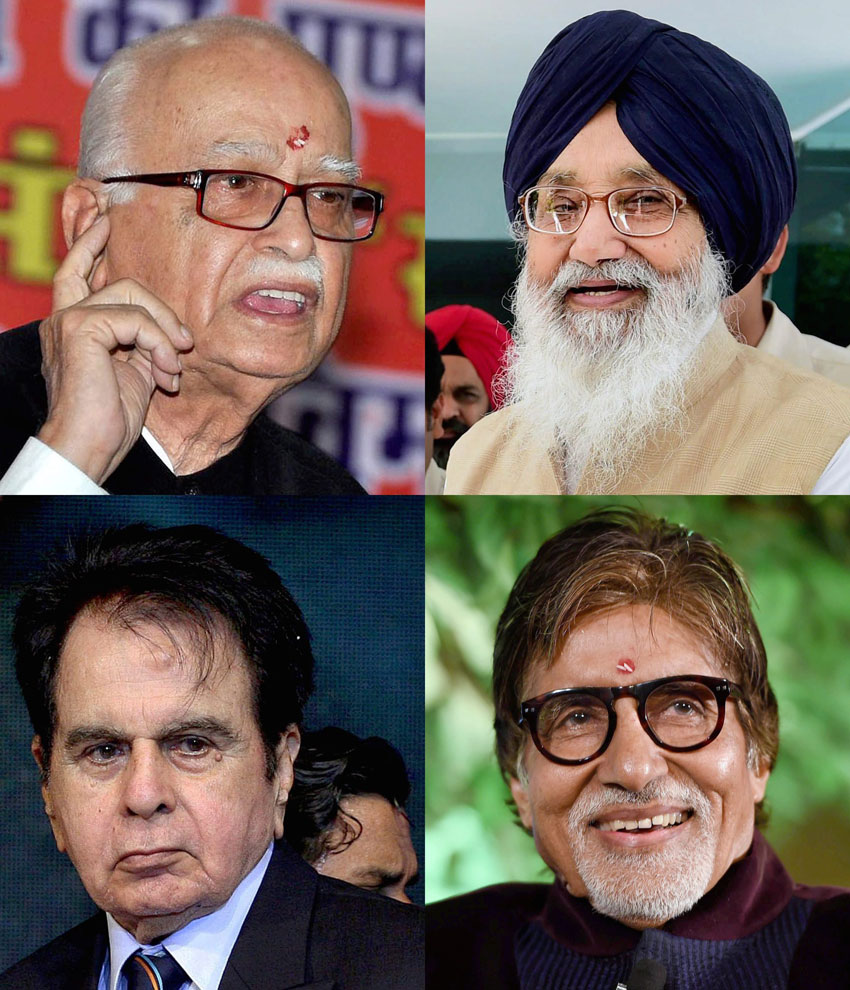 (Clockwise from top left): File photos of BJP veteran L.K. Advani, senior Shiromani Akali Dal leader Parkash Singh Badal, Bollywood megastar Amitabh Bachchan and legendary actor Dilip Kumar who will be conferred upon the prestigious Padma Vibhushan award as announced by the Indian government, Jan. 25. (Press Trust of India)