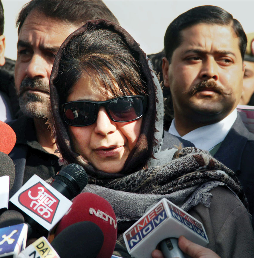Mehbooba Mufti, president of Peoples Democratic Party addressing the media at Raj Bhavan in Jammu, Dec. 31. (Press Trust of India)