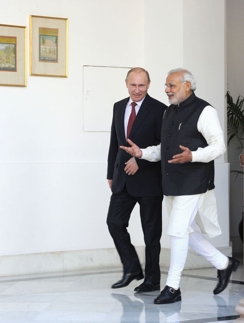 Indian Prime Minister Narendra Modi with Russian President Vladimir Putin in New Delhi, Dec. 11. (Press Information Bureau)