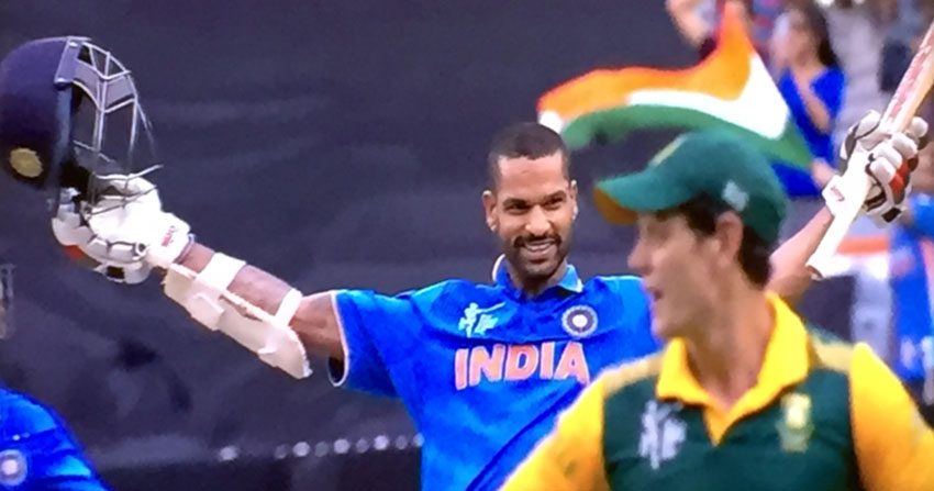 Shikhar Dhawan after scoring a century against South Africa, in Melbourne, Feb. 22.