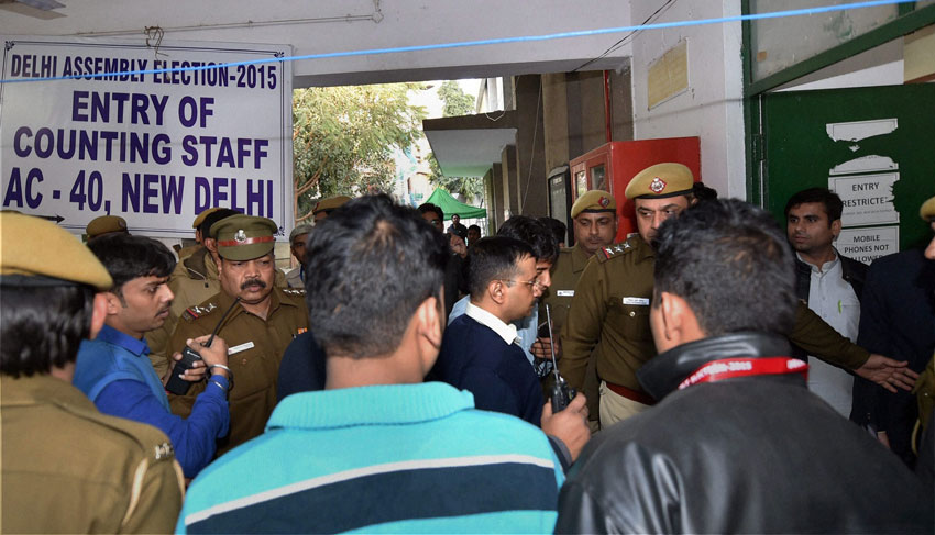 AAP convener Arvind Kejriwal arrives at a counting center for collecting the winning certificate for Assembly polls in New Delhi, Feb. 10. (Shahbaz Khan | PTI)