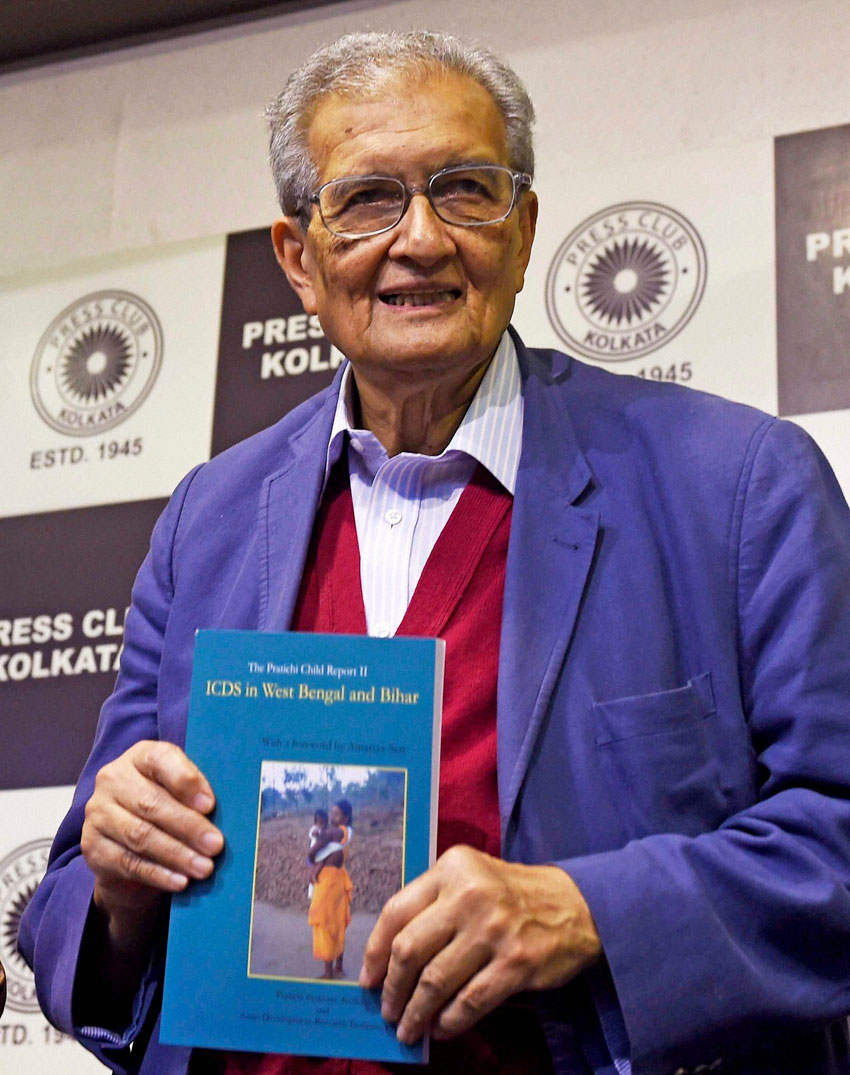 "Nobel laureate Amartya Sen releasing the ""The Pratichi Child Report"" at Press Club in Kolkata, Feb. 9. (Ashok Bhaumik 