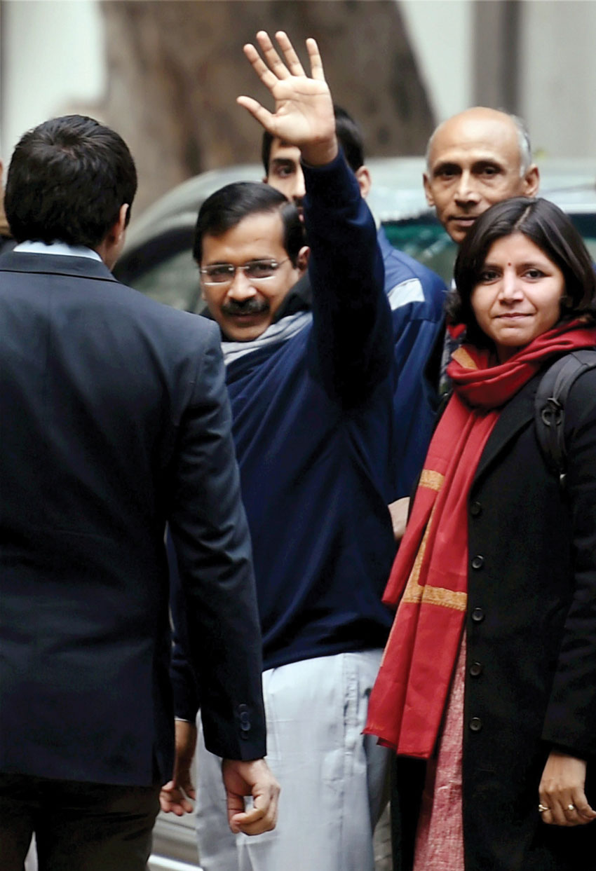 AAP candidate Arvind Kejriwal after filing his nomination papers for upcoming Assembly elections at Jamnagar House in New Delhi, Jan. 21. (Subhav Shukla | PTI)