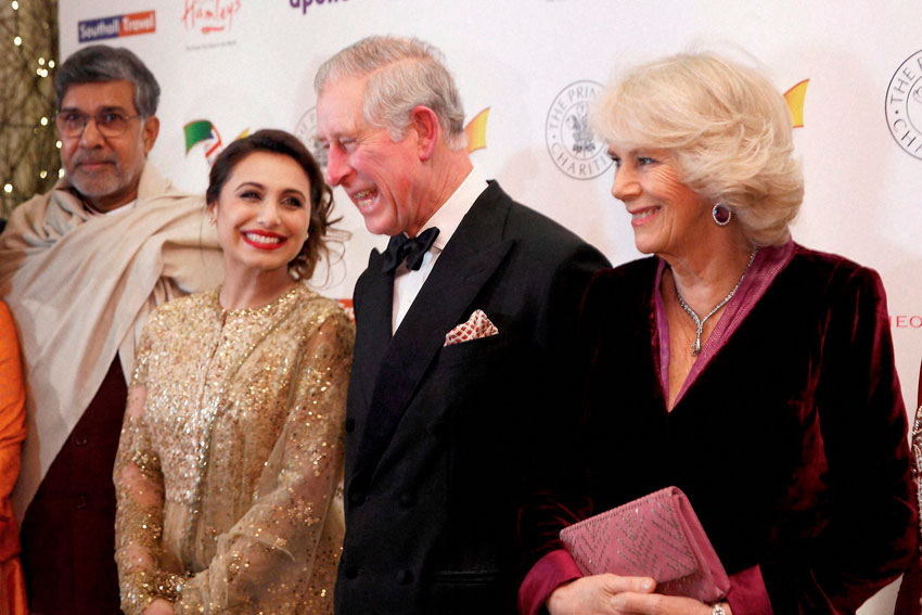 RANI MEETS PRINCE: Britain's Prince Charles and his wife Camilla (r) with actress Rani Mukherji and Nobel Peace Prize winner Kailash Satyarthi (l) at the red carpet of the British Asian Trust gala fund raiser in London, Feb. 4. (Press Trust of India)
