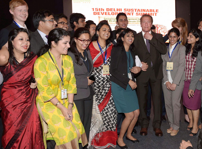 TERMINATOR IN DELHI: Hollywood actor and former Governor of California Arnold Schwarzenegger with students during the 15th Delhi Sustainable Development Summit in New Delhi, Feb. 5. (Manvender Vashist   PTI)