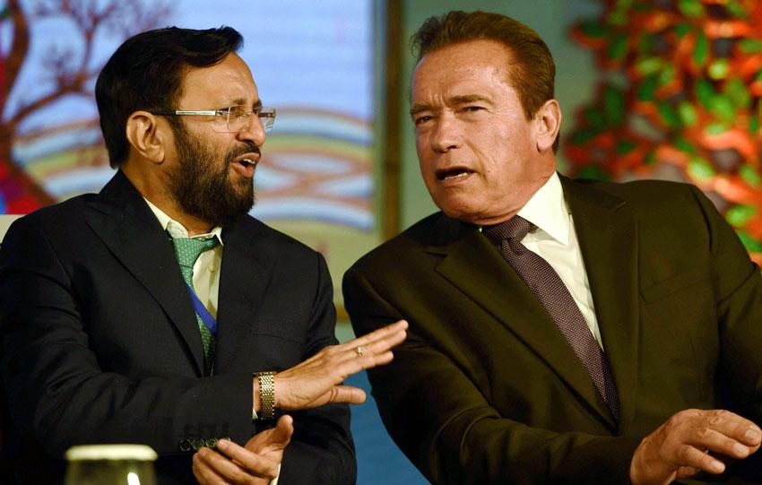 TERMINATOR IN DELHI: Arnold Schwarzenegger (r) and Environment Minister Prakash Javadekar during the 15th Delhi Sustainable Development Summit in New Delhi, Feb. 5. (Manvender Vashist   PTI)