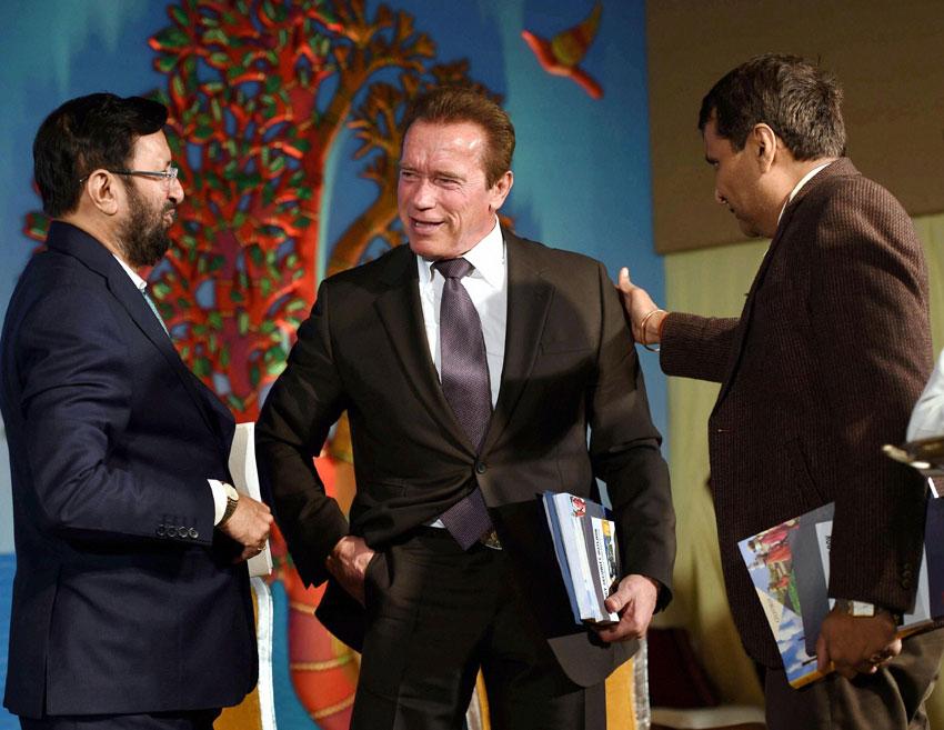 TERMINATOR IN DELHI: (From r): Railway Minister Suresh Prabhu, Hollywood star and former Governor of California Arnold Schwarzenegger and Environment Minister Prakash Javadekar during the 15th Delhi Sustainable Development Summit in New Delhi, Feb. 5. (Manvender Vashist   PTI)