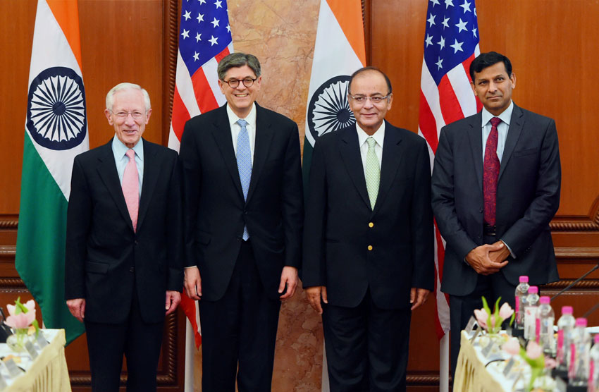 File photo of Finance Minister Arun Jaitley (2nd from r) and U.S. Treasury Secretary Jacob L. Lew at the 5th Indo-U.S. Economic and Financial Partnership Dialogue, in New Delhi, Feb. 12. RBI Governor Raghuram Rajan (r) and U.S. Federal Reserve Vice Chairman Stanley Fischer is also seen. (Shahbaz Khan | PTI)