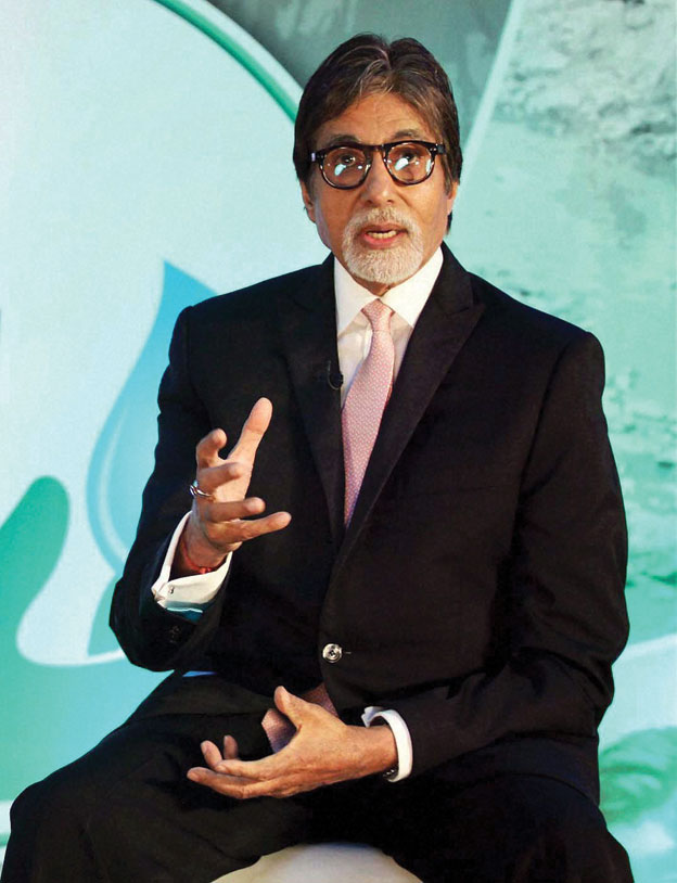 Amitabh Bachchan speaking at the launch of Dettol Banega Swachh India, a 5-year nationwide program by Reckitt Benckiser in partnership with with NDTV & Facebook, in Mumbai, Sep. 25. [Photo: Press Trust of India]