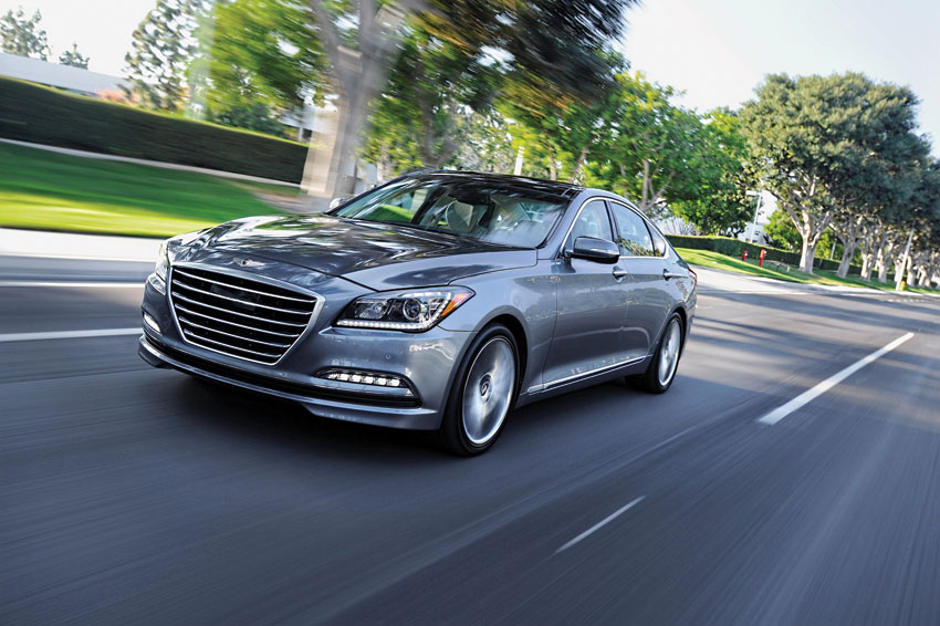 Exterior view of the 2015 Hyundai Genesis sedan.