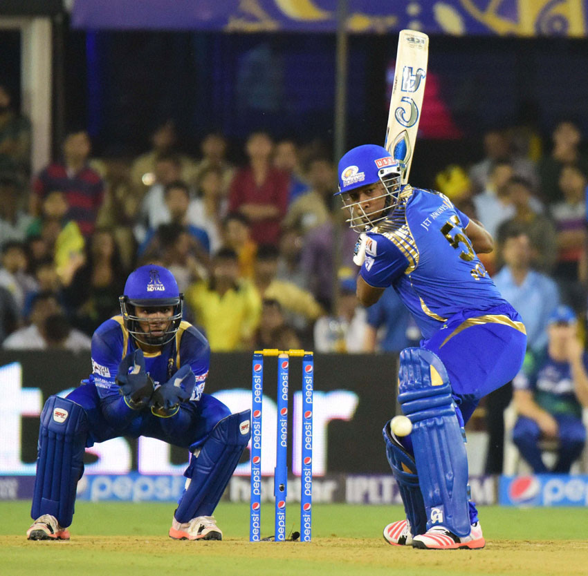 Mumbai Indians' Kieron Pollard plays a shot against Rajasthan Royals during their IPL 2015 at the Sardar Patel Stadium in Ahmedabad, Apr. 14. (Press Trust of India)