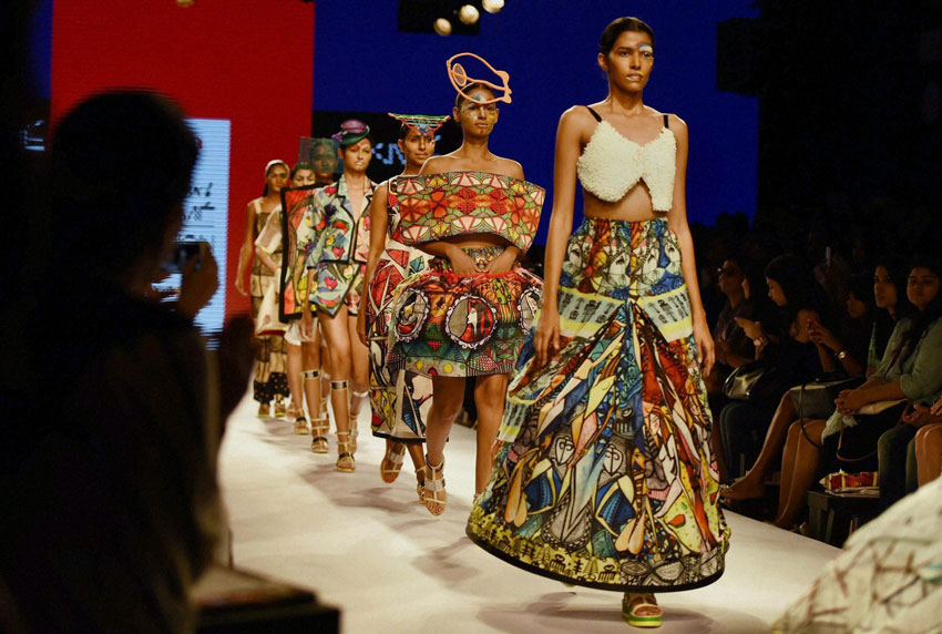 Models walk the ramp during the Lakme´ Fashion Week Summer Resort 2015 in Mumbai. (Mitesh Bhuvad | PTI)
