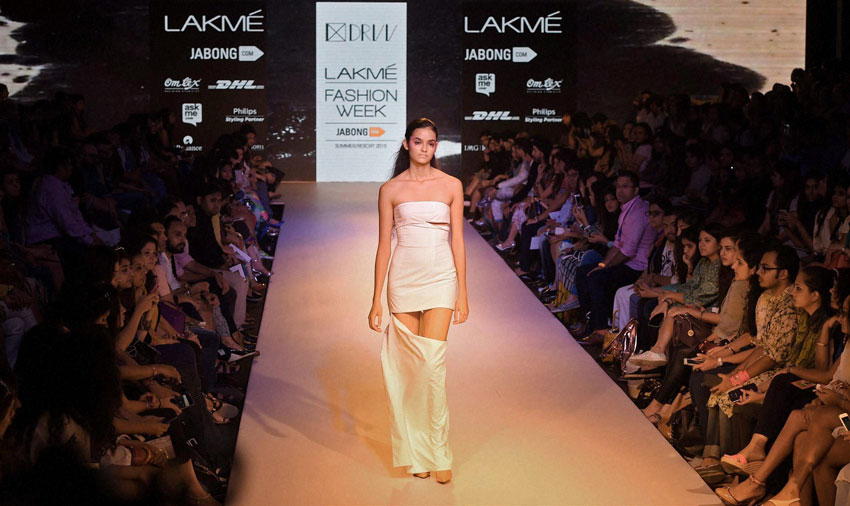 A model walks the ramp during the Lakme´ Fashion Week Summer Resort 2015 in Mumbai. (Shashank Parade | PTI)