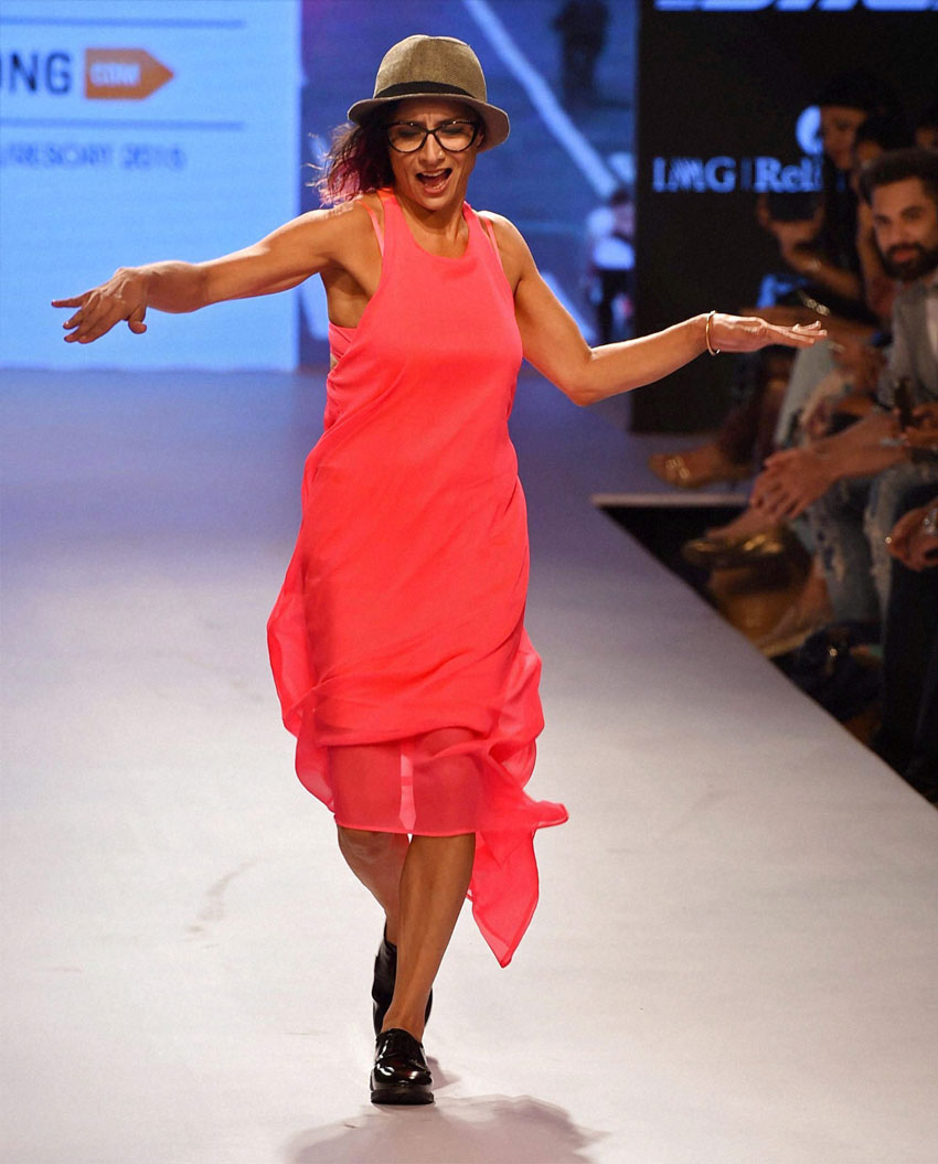Hairstylist and wife of Farhan Akhtar, Adhuna Akhtar walks the ramp during the Lakme´ Fashion Week Summer Resort 2015 in Mumbai. (Shashank Parade | PTI)