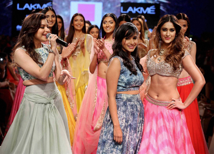 Bollywood actress on the ramp for designer Anushree Reddy during the Lakme´ Fashion Week Summer Resort 2015 in Mumbai, Mar. 21. (Press Trust of India)
