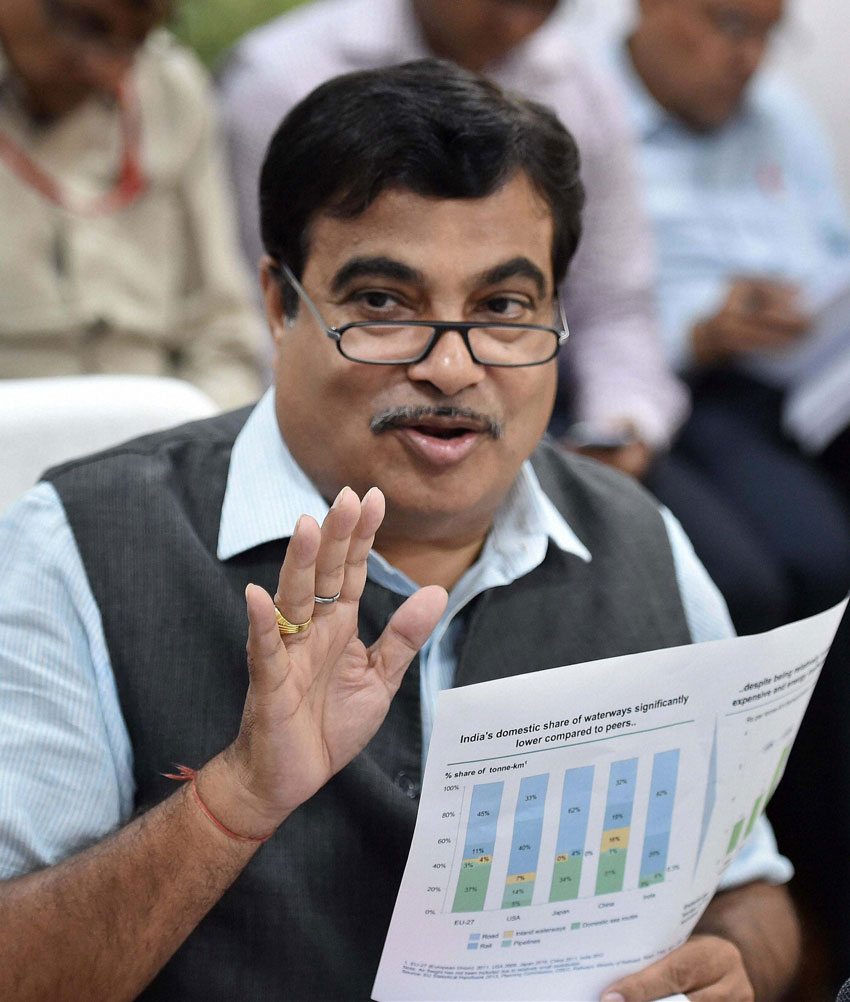 Minister of Road Transport and Highways, Nitin Gadkari speaks to media during a press conference in New Delhi, Mar. 26. (Vijay K. Joshi | PTI)