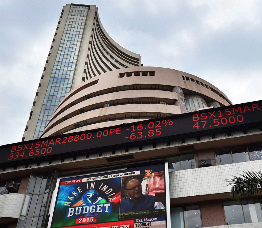 A display board shows the share prices at the Bombay Stock Exchange building in Mumbai, Feb. 28, during the Union budget 2015-16 presentation in the Lok Sabha. (Santosh Hirlekar | PTI)
