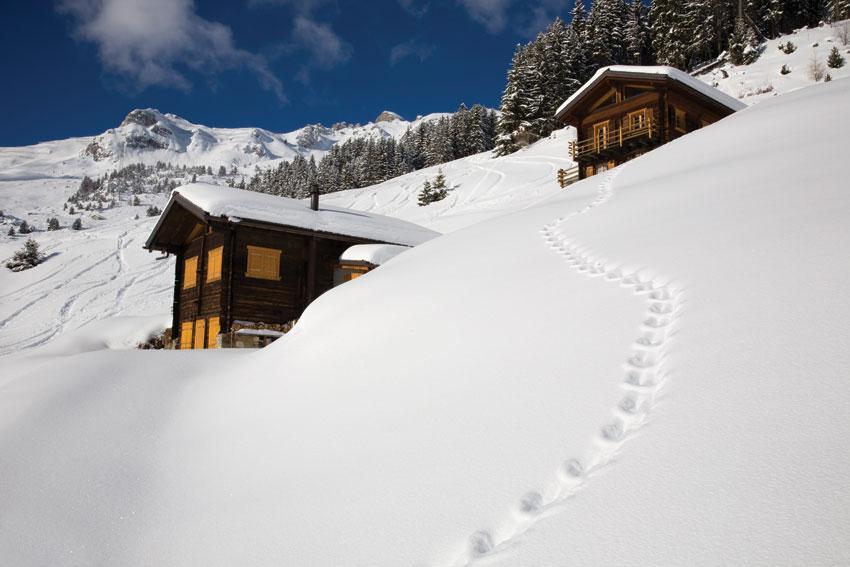 Winterlandschaft in Verbier, Swiss Alps.