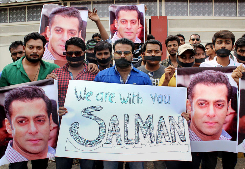 Fans of Bollywood actor Salman Khan at a silent march to support him after a court sentenced him to 5 years jail in 2002 hit-and-run case, in Nagpur, May 6. (Press Trust of India)