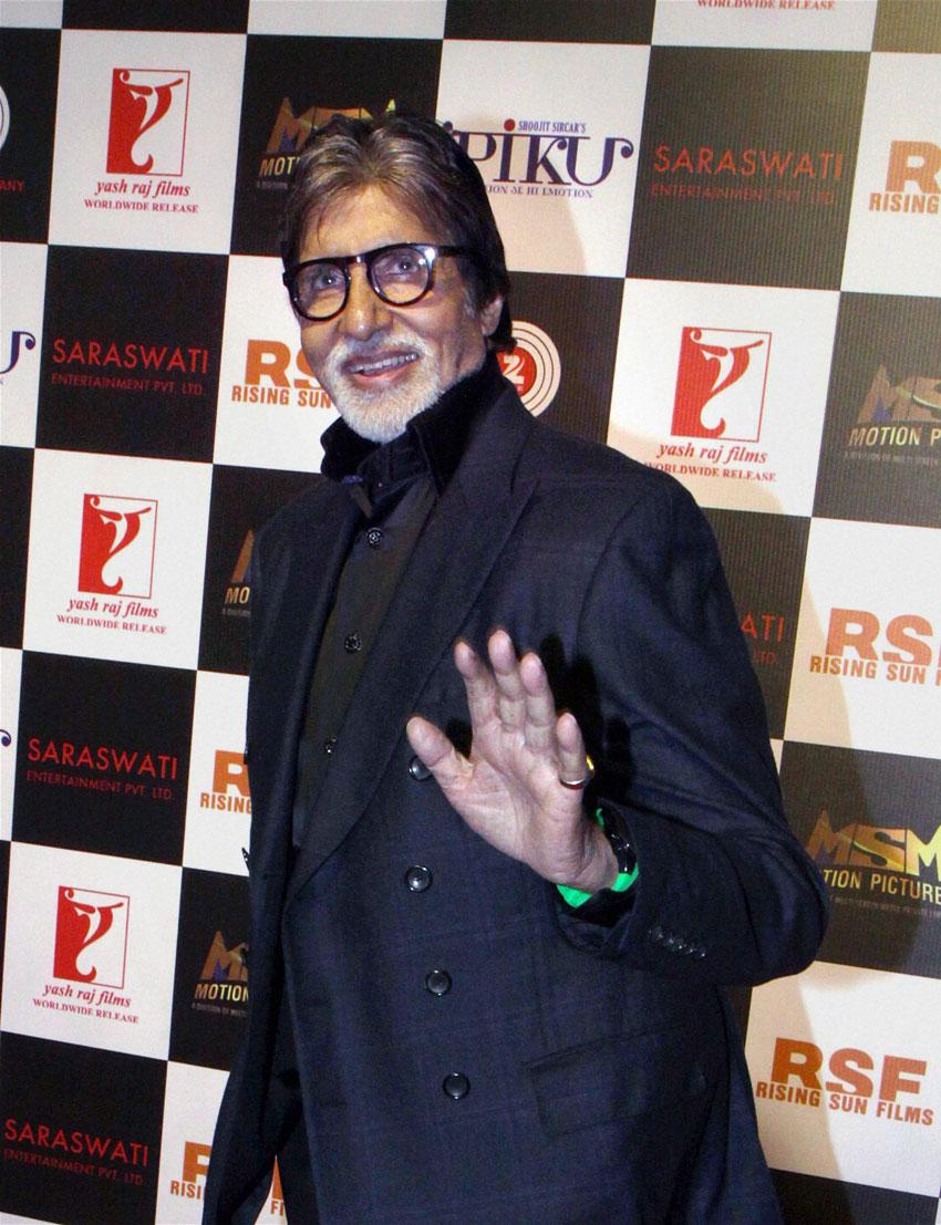 """Amitabh Bachchan attends a party for film """"Piku"""" in Mumbai, May 17. (Press Trust of India)"""