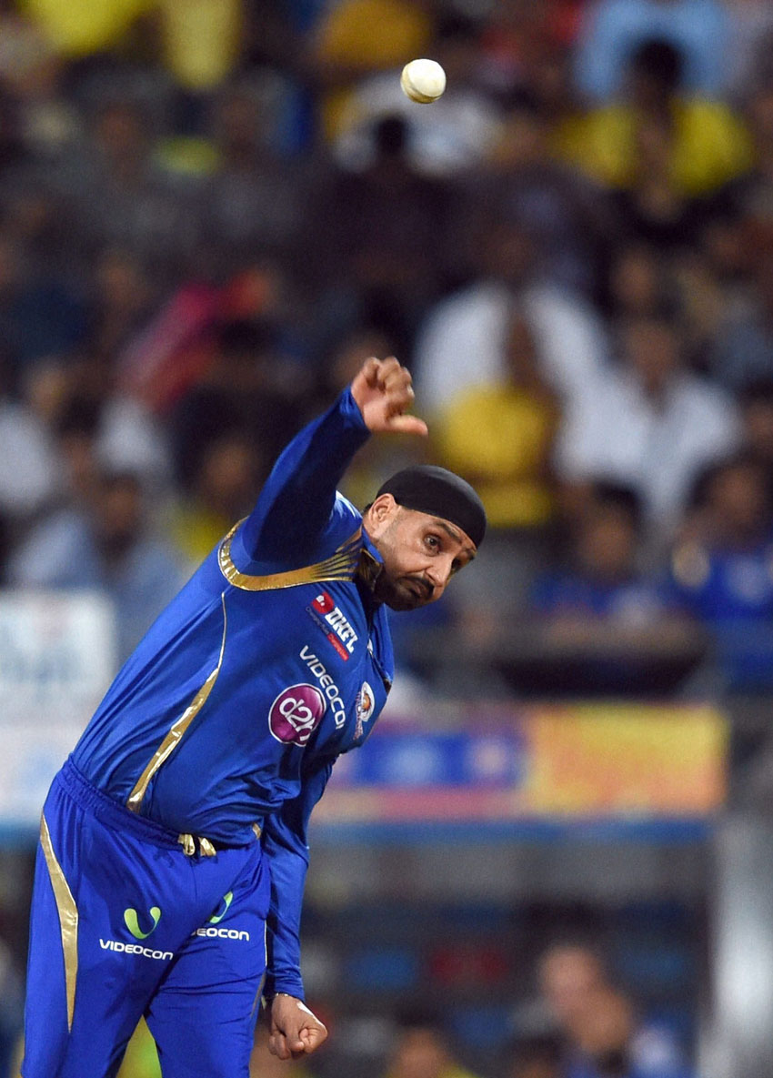 Mumbai Indians player Harbhajan Singh bowls during the first qualifier match of IPL in Mumbai, May 19. (Mitesh Bhuvad | PTI)