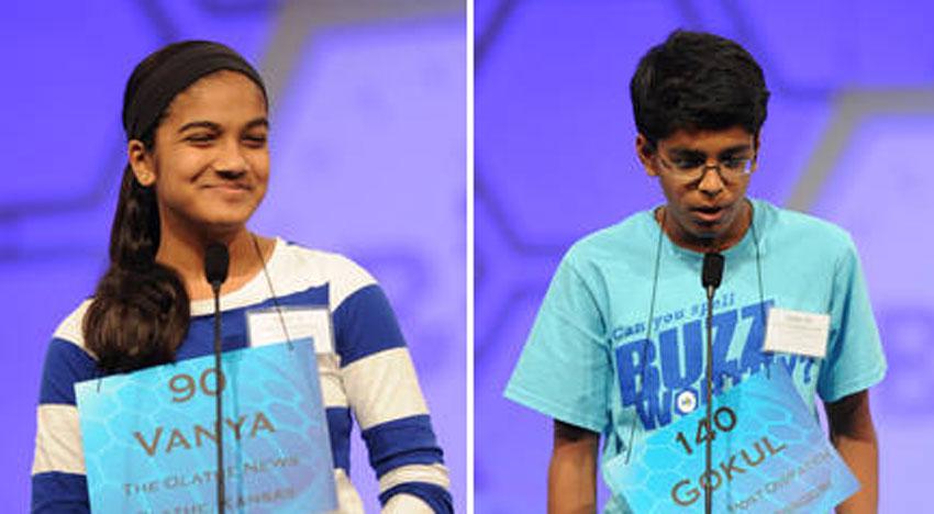 Vanya Shivashankar (l) and Gokul Venkatachalam, co-winners of the 2015 Scripps National Spelling Bee. (Photo courtesy: National Spelling Bee)