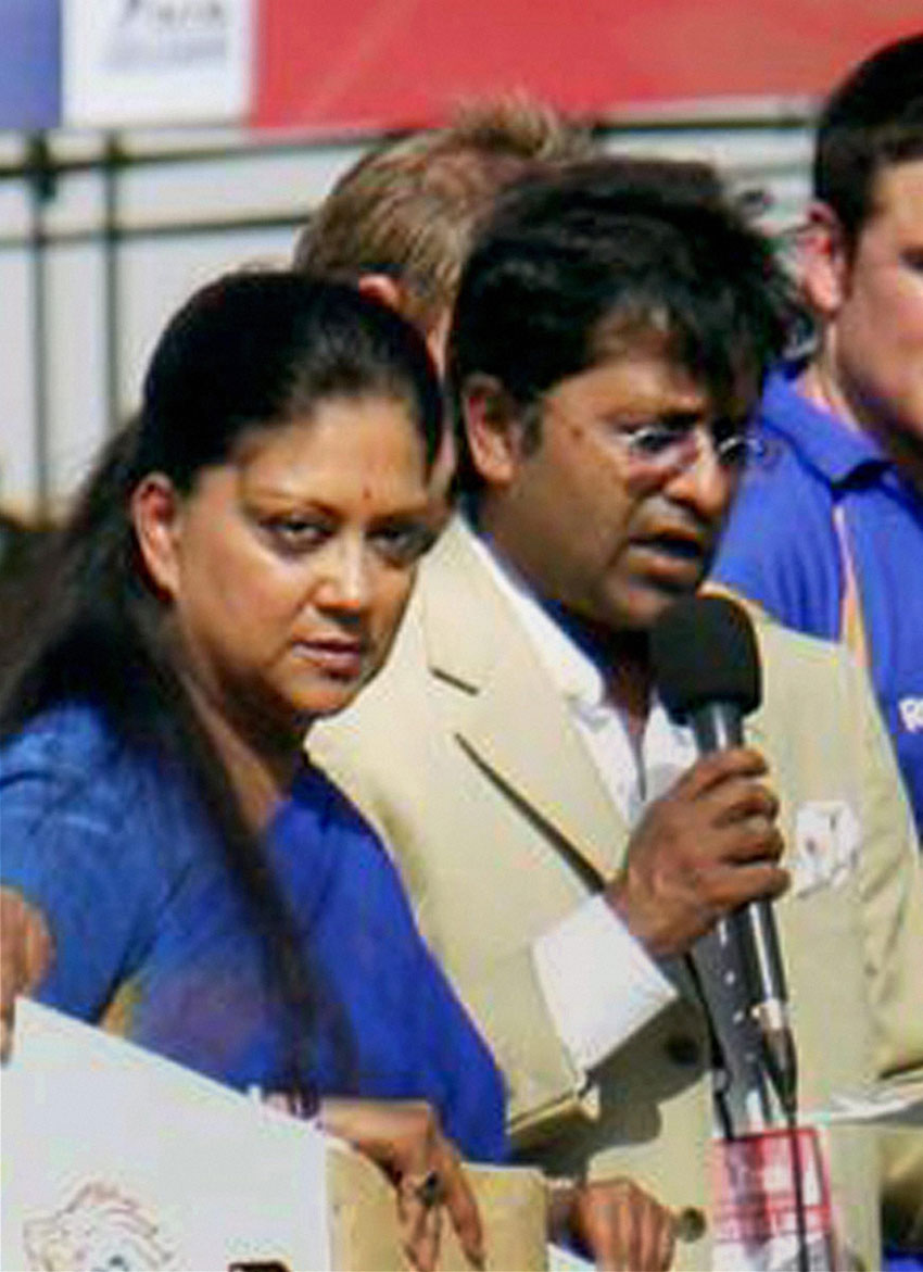 File Photo of Rajasthan Chief Minister Vasundhara Raje with former IPL commissioner Lalit Modi during an IPL match in Jaipur in 2008.  (Press Information Bureau)
