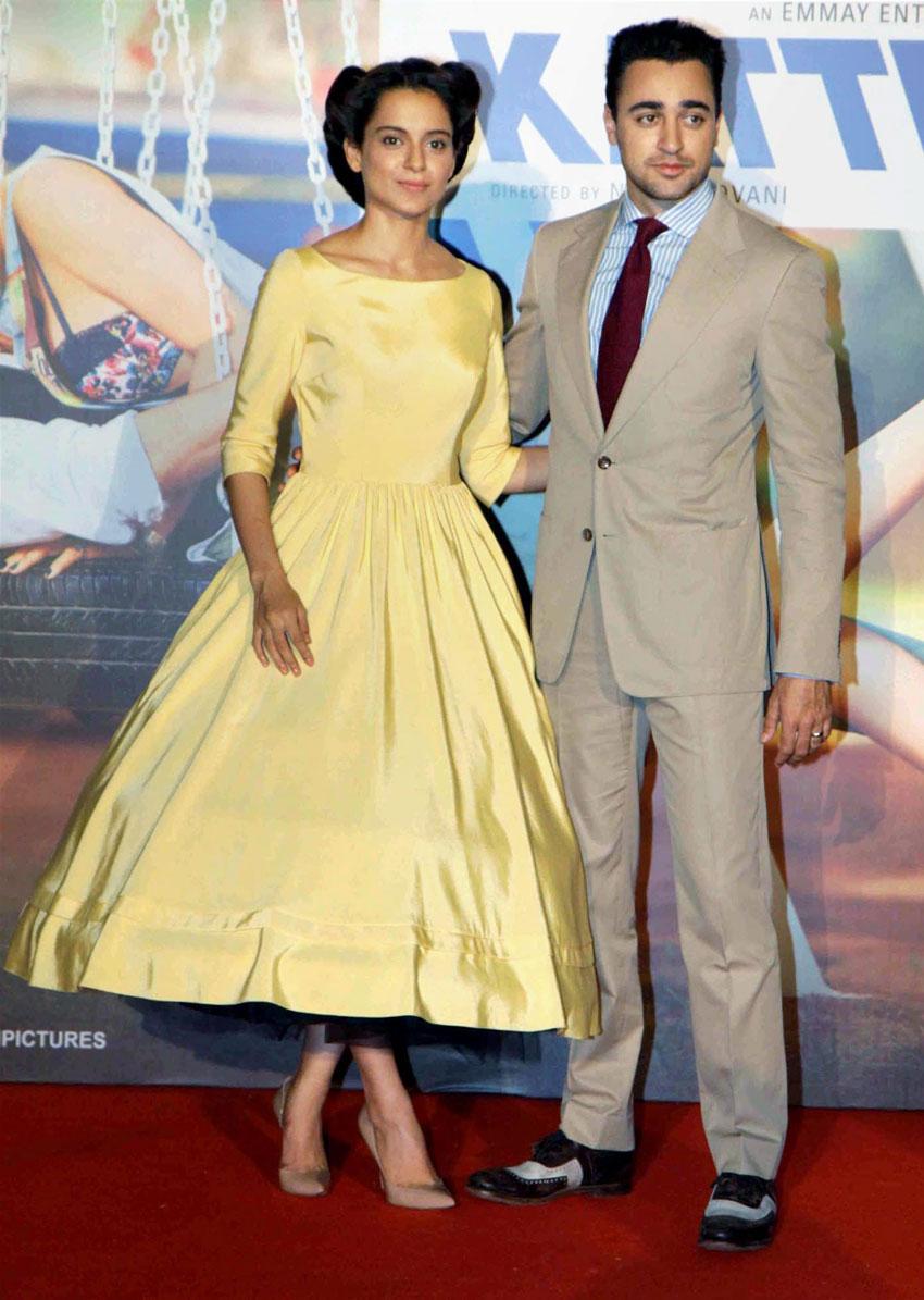 """Kangana Ranaut and Imran Khan (r) at the trailer launch of """"Katti Batti,"""" in Mumbai, Jun. 14. (Press Trust of India)"""
