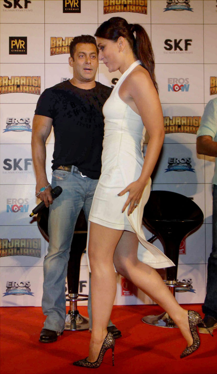 "Salman Khan and his leading lady, Kareena Kapoor Khan, at the trailer launch of ""Bajrangi Bhaijaan"" in Mumbai, June 18. (Press Trust of India)"