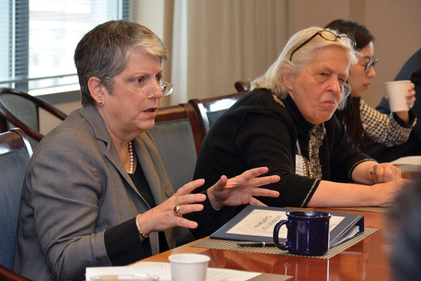 UC President Janet Napolitano talks with ethnic media in Oakland, Calif., May 27. (Amar D. Gupta | Siliconeer)