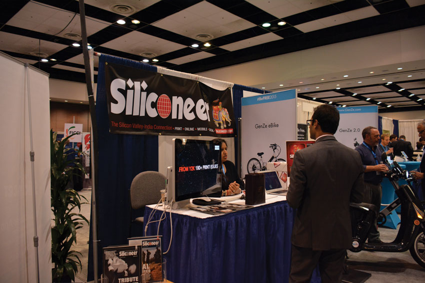 An attendee witnesses the history of Siliconeer at our booth at #TiEcon 2015. Amar D. Gupta | Siliconeer