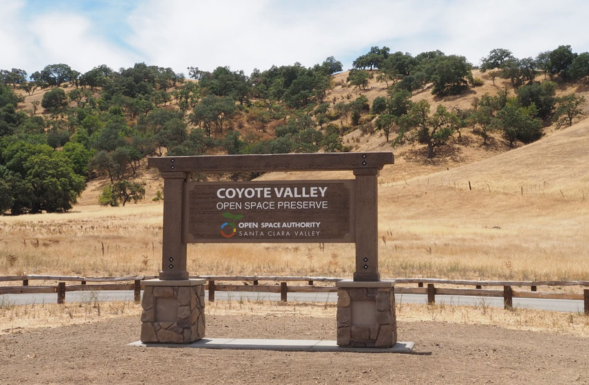 Coyote Valley Open Space Preserve signage. (Santa Clara Open Space Authority)