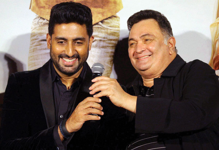 """Abhishek Bachchan and Rishi Kapoor at the trailer launch of """"All is Well"""" in Mumbai, July 2. (Press Trust of India)"""