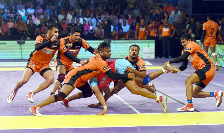 Players in action during a Pro Kabaddi League match between Jaipur Pink Panther and U Mumbai, in Mumbai, July 18. (Mitesh Bhuvad | PTI)