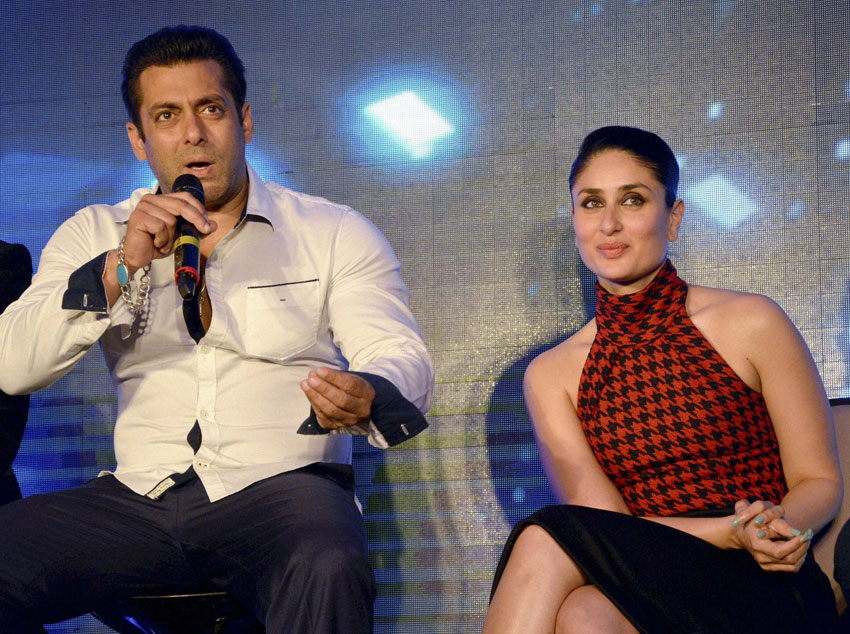 Star cast of film Bajrangi Bhaijaan, Salman Khan and Kareena Kapoor Khan (r) at a promotional event for the film in Gurgaon, July 14. (Press Trust of India)